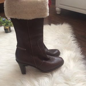 Faconnable Brown Leather Fold Over Booties